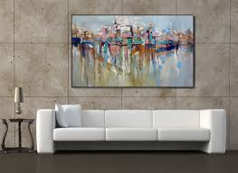 Paintings For The Living Room Wall Art Extra Large Painting Cityscape Abstract Painting Textured