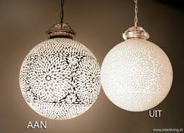 Oosterse Grote Bol Hanglamp Wit Glas Modern Mozaiek Tiffany Art Deco