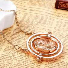6 x harry potter time turner necklace hermione granger rotating spins gold hourglass fashion jewelry