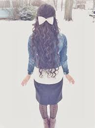<b>Everything</b> about this look. Hair, <b>bow</b>, <b>jacket</b>, skirt, boots, tights ...