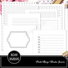 Printable Binder Inserts Pocket Rings The Basics Ring Binder Printable Inserts Cover Checklists Grids Dot Grids Lined And Blank Inserts