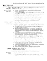 Adorable Sample Resume For Police Officer Extraordinary Resume