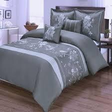 modern grey and white cotton 5pc fl duvet cover set