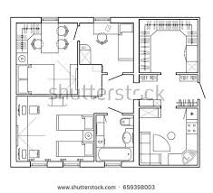 Architectural Plan House Layout Apartment Furniture Stock Vector HD