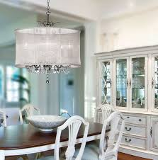 dining room lighting design. Soft Illuminated Crystal Dining Room Lighting With Sheer Cover In White Decor Design B