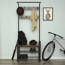 Industrial Coat Rack Bench Industrial Coat Rack Stand Bench Hallway Furniture 100 Hooks Shoe 79