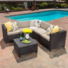 Puerta Outdoor 5 piece Wicker V Shaped Sectional Sofa Set by
