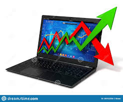 Laptop And Business Finance Graph 3d Illustration Stock