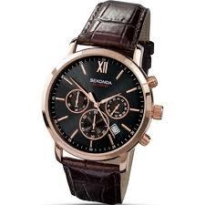 sekonda chronograph black dial chronograph brown leather strap sekonda chronograph black dial brown leather strap mens watch 3406