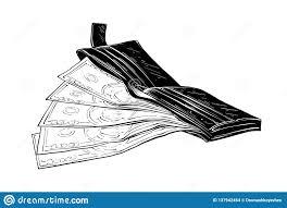 эскиз руки вычерченный бумажника с деньгами в черноте изолированными