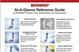 Bernina At A Glance Reference Guide To Bernina Presser Feet