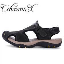 men summer slide sandals 2018 high quality beach sandals mens italian genuine leather sandals mens shoes large sizes