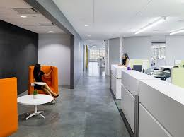 colorful office space interior design. Colorful Office Spaces For Enjoyable Works : Relaxation Space Bright And Orange Sofa Interior Design O