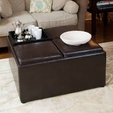Living Room Tables Sets Square Black Leather Ottoman Coffee Table With Storage On White