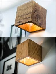 A Wall Sconce Made from an Oak Cube Perfect for Minimalist Style Lovers