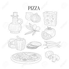 pizza ings isolated hand drawn realistic sketches artistic pencil detailed contour ilration on white background