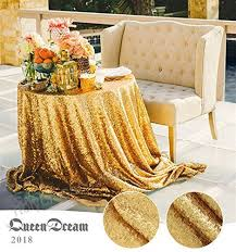 queendream 72 round gold sequin tablecloth elegant table overlay for wedding b01lzmrrzr