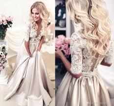 discount 2017 newest champagne wedding dresses sheer neck half
