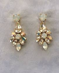swarovski white opal crystal dangle bridal statement earrings images of
