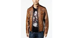 inc international concepts jones two tone faux leather jacket in brown for men save 69 lyst