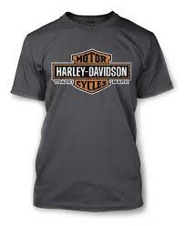harley davidson men s elongated orange bar shield charcoal t