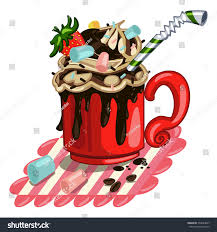 hot chocolate with whipped cream clip art. Interesting Art Hot Chocolate With Whipped Cream Marshmallows Strawberries And Cocktail  Drinking Straws Vector Cartoon For Chocolate With Whipped Cream Clip Art U