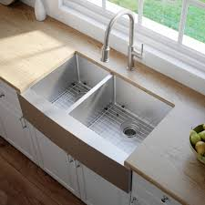 stainless steel farmhouse kitchen sink with soundproofing kraus standart pro 8482 33 inch 16 gauge 60 40 double bowl