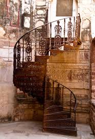 old iron spiral staircase in Fort Jodhpur