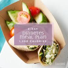 Diabetes Sample Menus 3 Day Diabetes Meal Plan 1 200 Calories Eatingwell