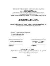 Ответственность за кражу по УК РФ реферат по уголовному праву и  Теория и практика применения на примере преступлений против собственности реферат по уголовному