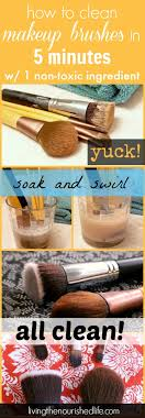 how to clean makeup brushes infographic from livingthenourishedlife