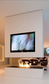 fireplace interior design. contemporary home with tv on the top of modern fireplace in living space interior design