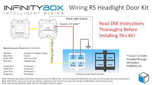 detroit speed headlight door kit • infinitybox wiring diagram showing how to connect the infinitybox powercell outputs to the detroit speed electric rs