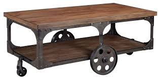 Modern Warehouse Wood & Metal Coffee Table with Caster Wheels