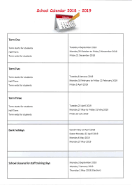 Holiday Term Dates | Valley Gardens Middle School