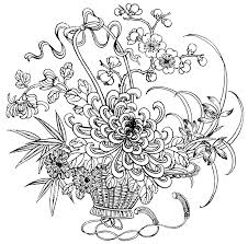 Detailed Flower Coloring Pages For Adults Detailed Flower Coloring