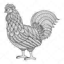 鶏の大人タトゥーt シャツ デザインカード デザイン要素に塗り絵の
