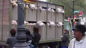 Banksy's latest art stunt drives a truck of stuffed animals to slaughter in  Brooklyn – Raw Story