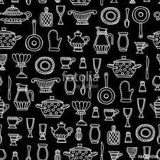 Vector seamless pattern with hand drawn kitchen utensils on black