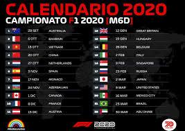 F1 2020 Calendario Original