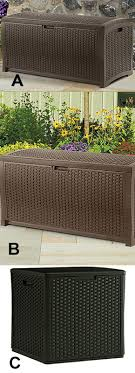 brown wicker look resin 50 x 25 6 x 25 5 in 99 gals easy assembly long lasting resin construction