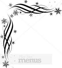 Black Snowflake Corner Christmas Menu Borders