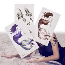 красивая русалка водонепроницаемый временные татуировки стикеры хны Tatto стикеры