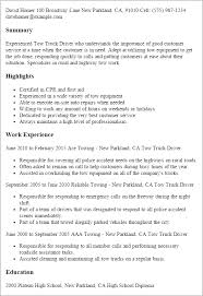 1 Tow Truck Driver Resume Templates Try Them Now Myperfectresume