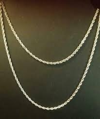 simple 14k white gold solid rope chain