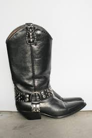 vintage 90s black leather studded cowboy boots 7