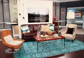 Interesting Brown Top Table and Leather Sofa on Blue Carpet in Appealing  Bohemian Interior Design