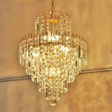 Luxury Pendant Lighting Uk Us 122 11 6 Off Luxury Royal Golden Crystal K9 Chandelier Crystal Golden Chandeliers Hall Living Room Lighting Lustre De Cristal In Chandeliers From
