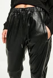promotion black faux leather joggers women s clothing websites