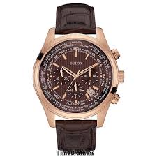 new guess watch for men chronograph brown leather strap date guess watch for men u0500g3